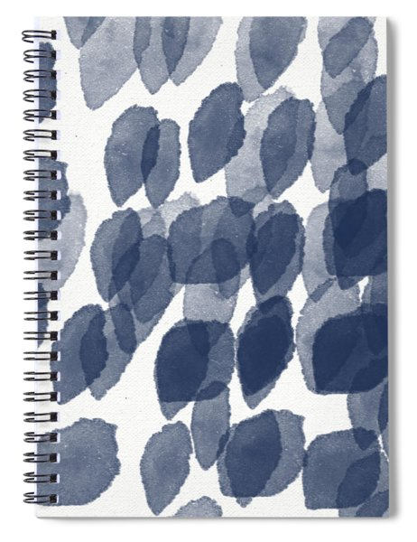 Indigo Rain- Abstract Blue And White Painting Spiral Notebook