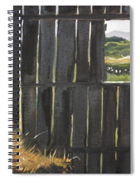 Spiral Notebook featuring the painting Barn -inside Looking Out - Summer by Jan Dappen