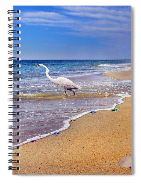 Inspiring Ibis Egret Sandpiper Starfish Sand Dollars  Spiral Notebook
