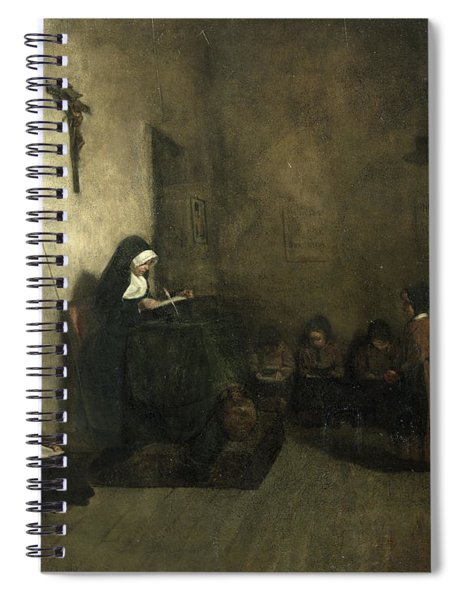 Interior Of A School For Orphaned Girls, 1850 Oil On Canvas Spiral Notebook