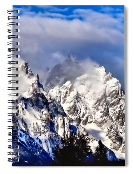 Teton Mountains In The Clouds Spiral Notebook