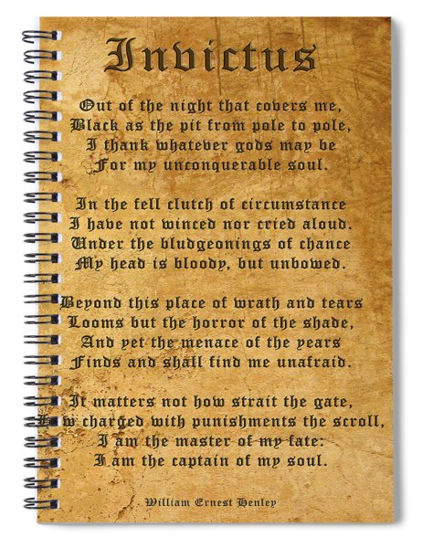 Invictus As A Tribute To Nelson Mandela Spiral Notebook