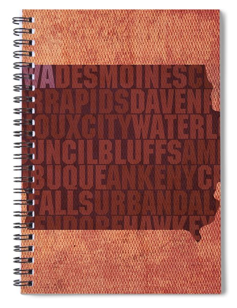 Iowa Word Art State Map On Canvas Spiral Notebook by Design Turnpike