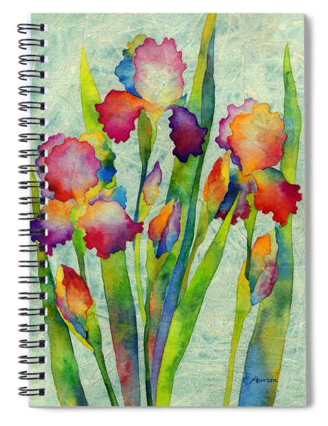 Iris Elegance On Green Spiral Notebook
