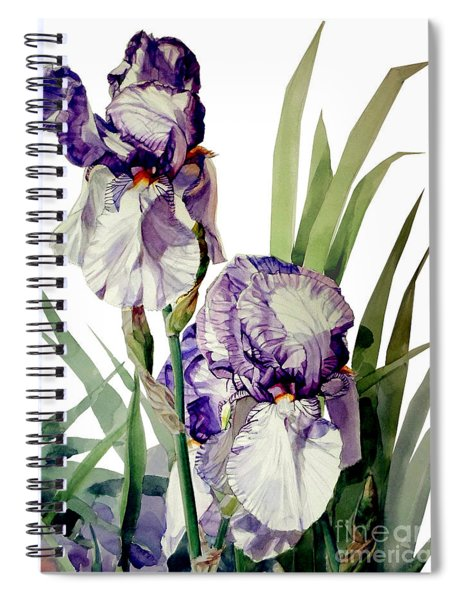 Watercolor Of A Tall Bearded Iris In Violet And White I Call Iris Selena Marie Spiral Notebook
