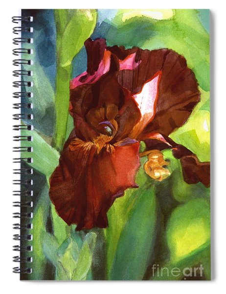 Watercolor Of A Tall Bearded Iris In Sienna Red Spiral Notebook