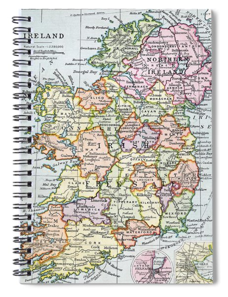 Irish Free State And Northern Ireland From Bacon S Excelsior Atlas Of The World Spiral Notebook by English School