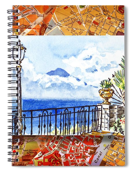 Italy Sketches Sorrento View On Volcano Vesuvius  Spiral Notebook