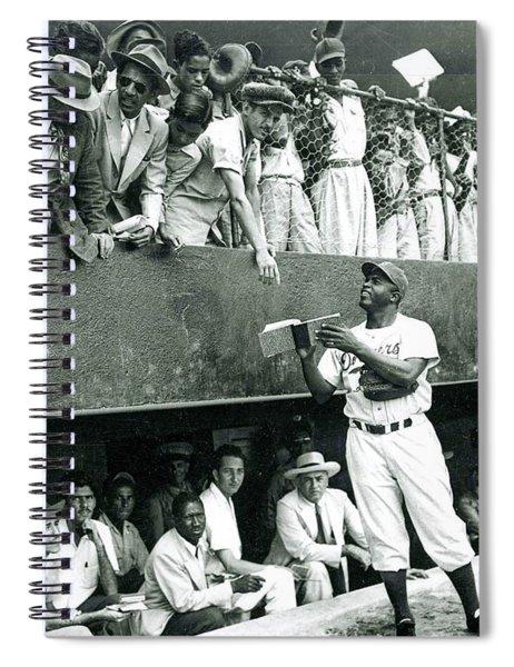 Jackie Robinson Signs Autographs Vintage Baseball Spiral Notebook