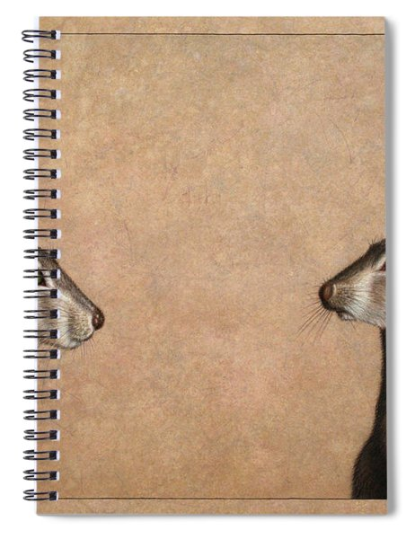 Spiral Notebook featuring the painting Jackrabbits by James W Johnson