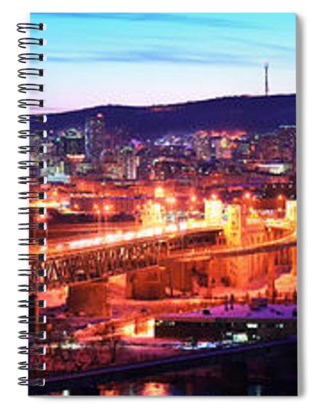 Jacques Cartier Bridge With City Lit Spiral Notebook
