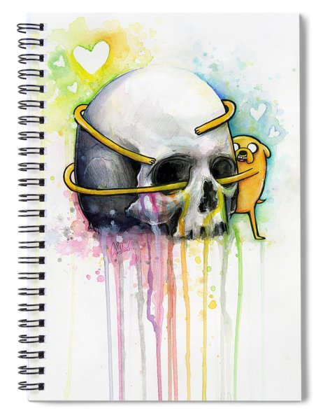 Jake The Dog Hugging Skull Adventure Time Art Spiral Notebook