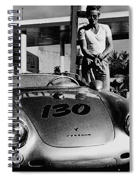James Dean Filling His Spyder With Gas In Black And White Spiral Notebook