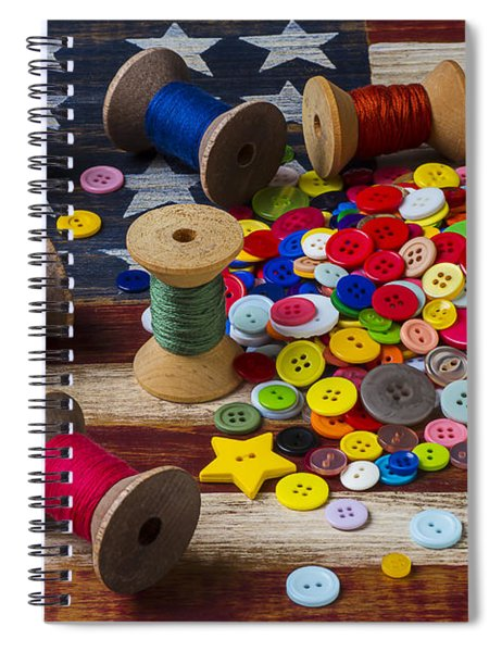 Jar Of Buttons And Spools Of Thread Spiral Notebook by Garry Gay