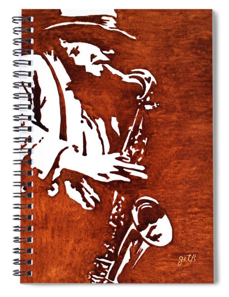 Jazz Saxofon Player Coffee Painting Spiral Notebook