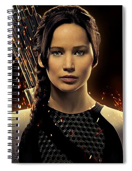 Spiral Notebook featuring the digital art Jennifer Lawrence As Katniss Everdeen by Movie Poster Prints