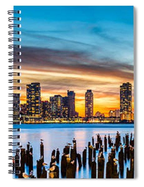Jersey City Panorama At Sunset Spiral Notebook