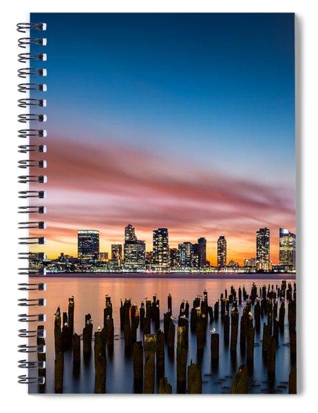 Jersey City Skyline At Sunset Spiral Notebook