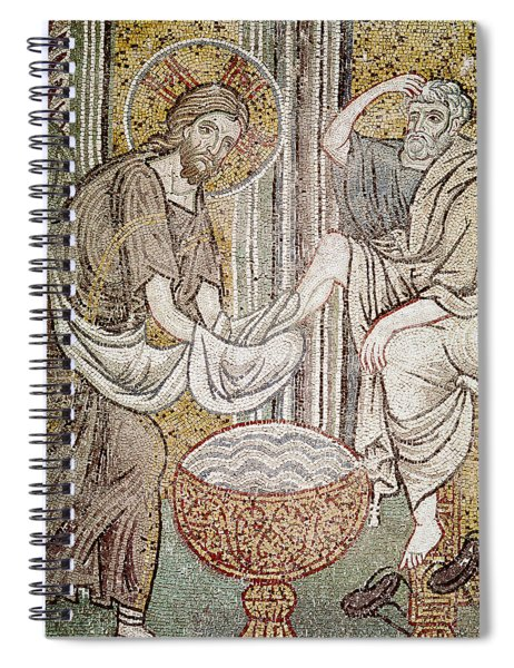 Jesus And Saint Peter, Detail From Jesus Washing The Feet Of The Apostle Mosaic Spiral Notebook