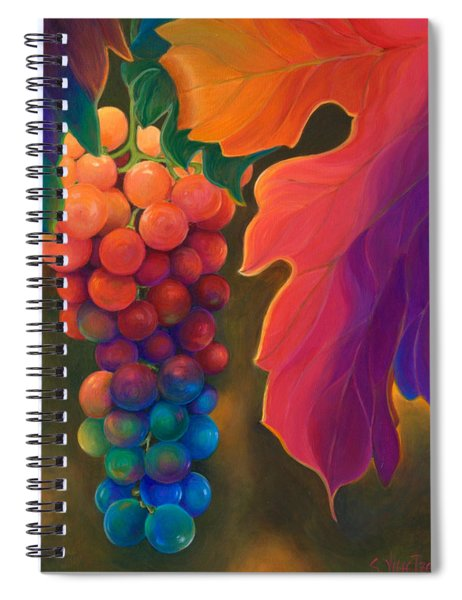 Spiral Notebook featuring the painting Jewels Of The Vine by Sandi Whetzel