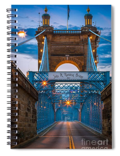 Spiral Notebook featuring the photograph John A. Roebling Suspension Bridge by Inge Johnsson