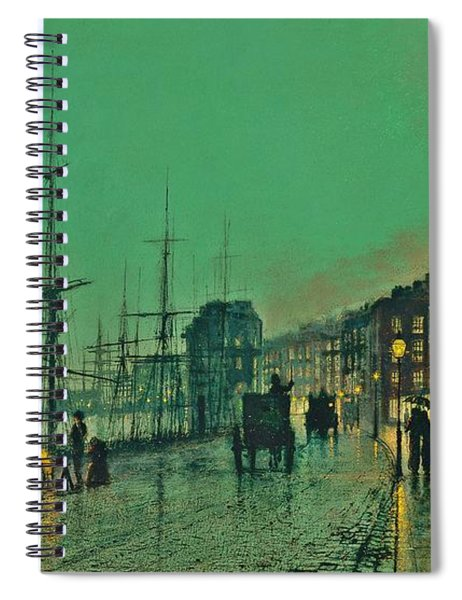 Spiral Notebook featuring the painting John Atkinson Grimshaw Shipping On The Clyde 1881 by Movie Poster Prints
