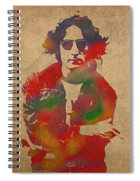 John Lennon Watercolor Portrait On Worn Distressed Canvas Spiral Notebook