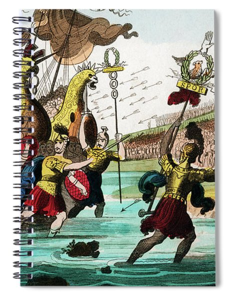 Julius Caesar And Roman Troop Ships Spiral Notebook