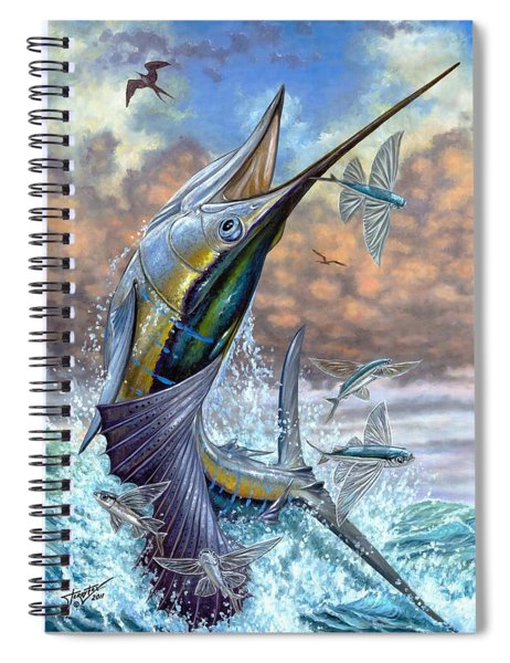 Jumping Sailfish And Flying Fishes Spiral Notebook