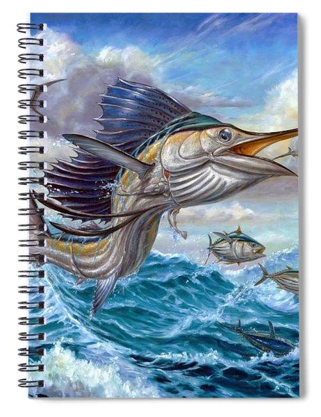 Jumping Sailfish And Small Fish Spiral Notebook