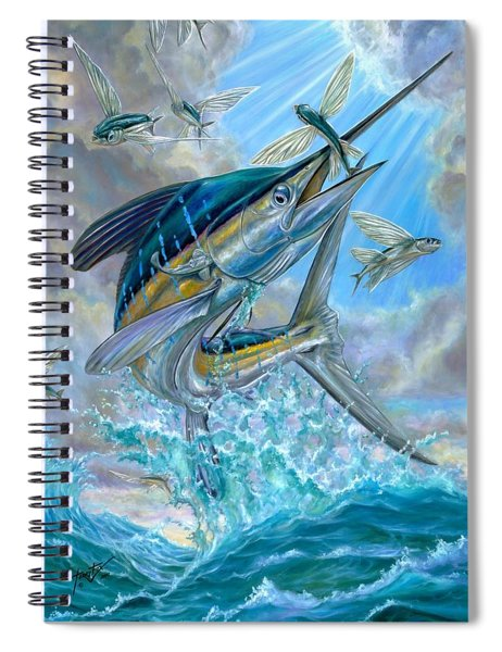 Jumping White Marlin And Flying Fish Spiral Notebook