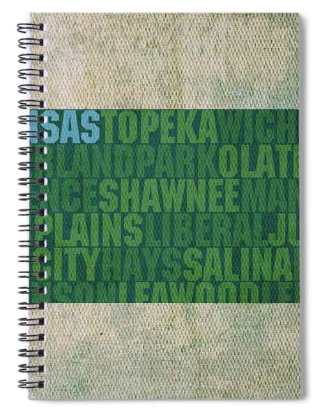 Kansas Word Art State Map On Canvas Spiral Notebook by Design Turnpike