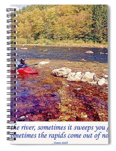 Kayaker Running A River Spiral Notebook