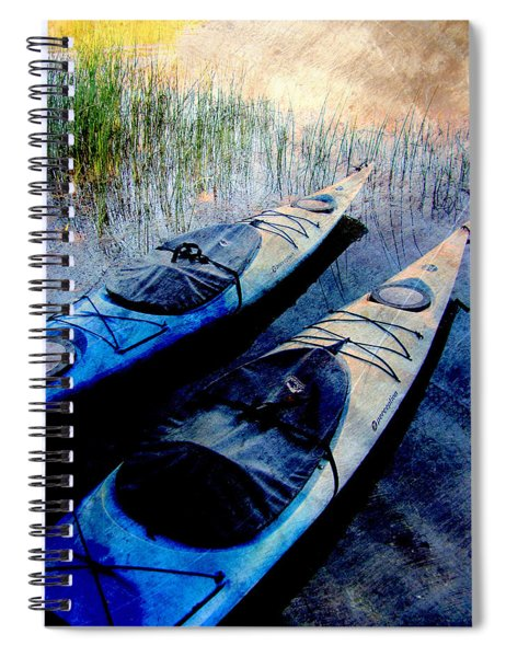 Kayaks Resting W Metal Spiral Notebook