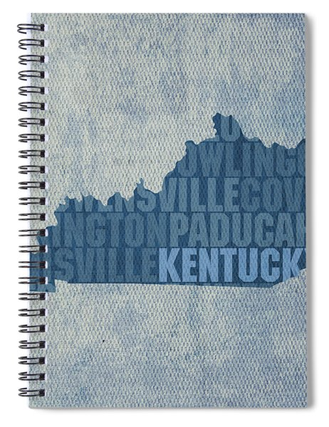 Kentucky Word Art State Map On Canvas Spiral Notebook by Design Turnpike