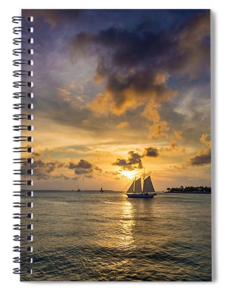 Spiral Notebook featuring the photograph Key West Florida Sunset Mallory Square by Robert Bellomy