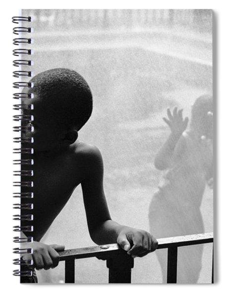 Kid In Sprinkler Spiral Notebook