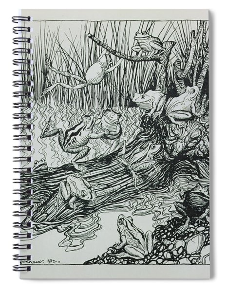 King Log, Illustration From Aesops Fables, Published By Heinemann, 1912 Engraving Spiral Notebook