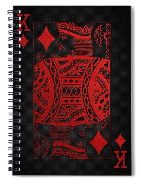 King Of Diamonds In Red On Black Canvas   Spiral Notebook