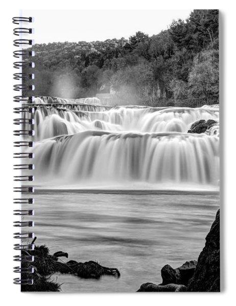 Krka Waterfalls Bw Spiral Notebook