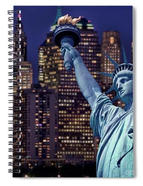Lady Liberty By Night Spiral Notebook