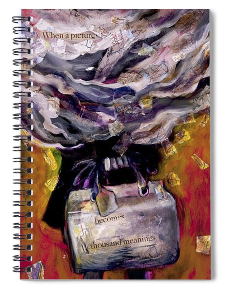 Lady With Suitcase And Storm Cloud Spiral Notebook