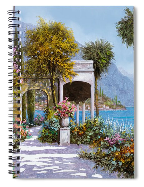 Lake Como-la Passeggiata Al Lago Spiral Notebook by Guido Borelli