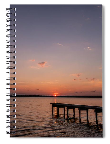 Lake Sunset Over Pier Spiral Notebook