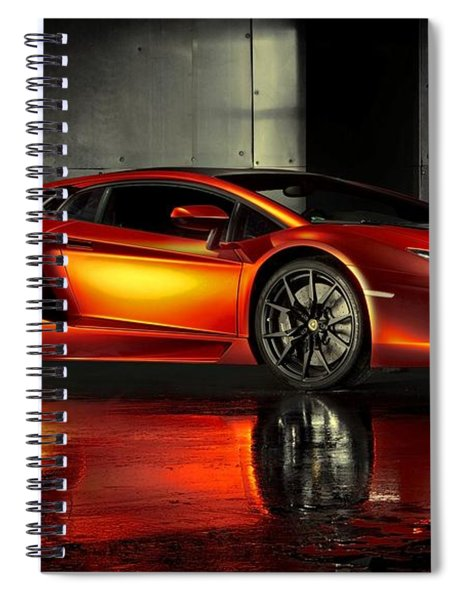 Spiral Notebook featuring the photograph Lamborghini Aventador by Movie Poster Prints