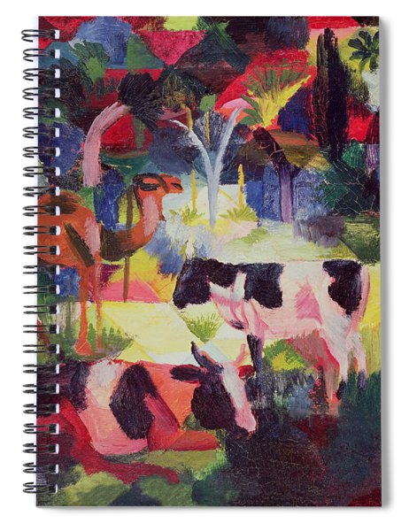 Landscape With Cows And A Camel Oil On Canvas Spiral Notebook