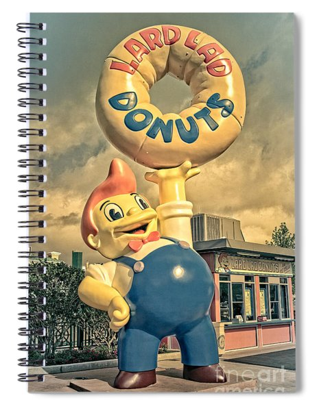 Spiral Notebook featuring the photograph Lard Lad Donuts by Edward Fielding