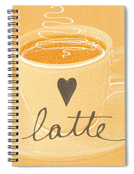 Latte Love In Orange And White Spiral Notebook