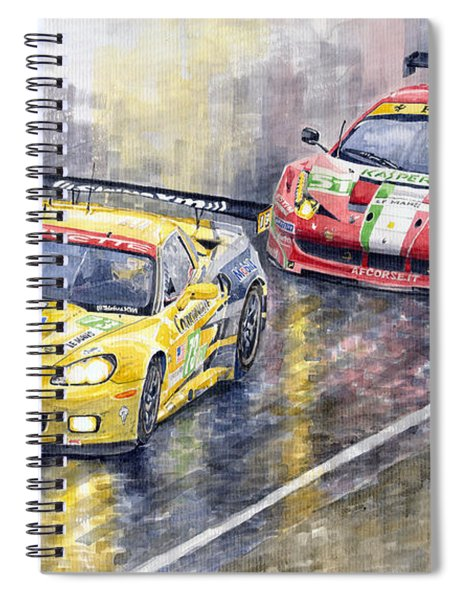 2011 Le Mans Gte Pro Chevrolette Corvette C6r Vs Ferrari 458 Italia Spiral Notebook