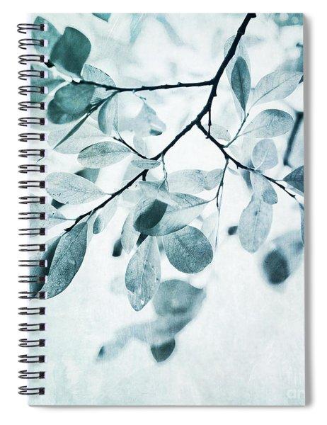 Leaves In Dusty Blue Spiral Notebook by Priska Wettstein